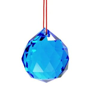 BLUE-FENG-SHUI-HANGING-CRYSTAL-BALL-1-5-034-40mm-Sphere-Prism-Faceted-Sun-Catcher