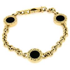 "Bvlgari Bulgari 7.5"" 18K Yellow Gold 3 Station Black Onyx Cable Link Bracelet"