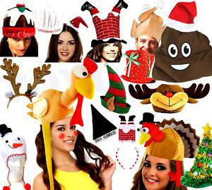 NOVELTY CHRISTMAS HATS Xmas Office Party Festive Fancy Dress Accessories Lot UK