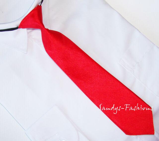 Herren Junge Kinder gebundene Krawatte m. Gummi länge 28, 35, 40, 45 cm in ROT