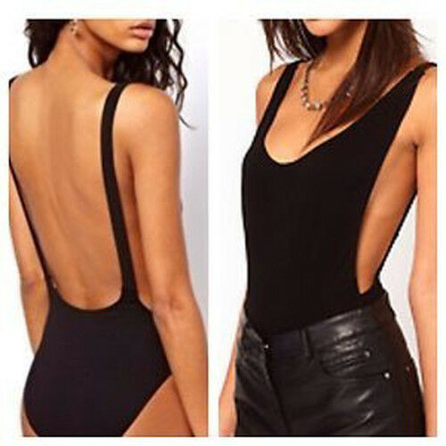 Womens Ladies Black Backless Cut Out Stretch Bodysuit Party Leotard Bralet Top