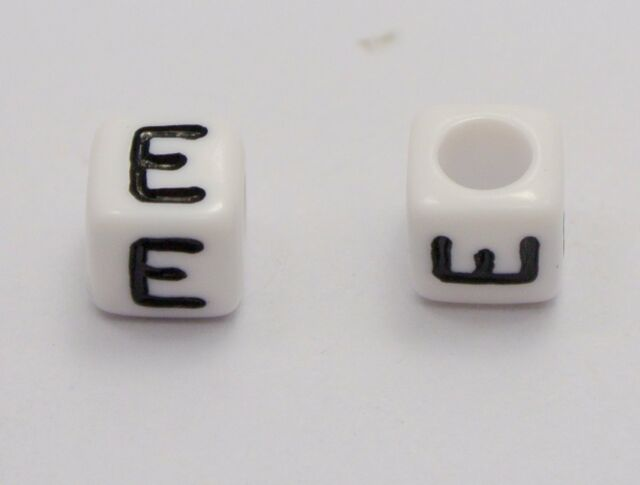 """500 White with Black Alphabet Letter /""""A/"""" Acrylic Cube Beads 6X6mm"""