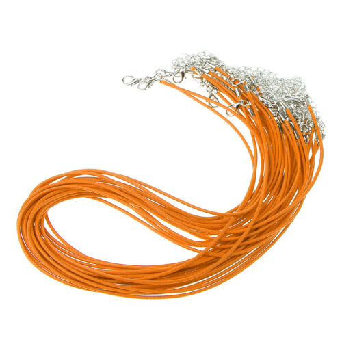 20Pcs Wax Cord Round Thong Necklace Bracelet Rope Lobster Clasp for Pendant