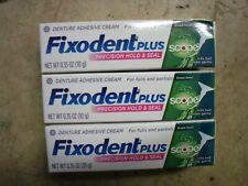 3 Fixodent Plus Scope Denture Adhesive Cream 0.35oz Tubes