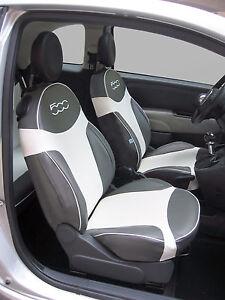 Vorne Sitzbezüge Passend Für Fiat 500 Auto Silber Tiger Kunst I