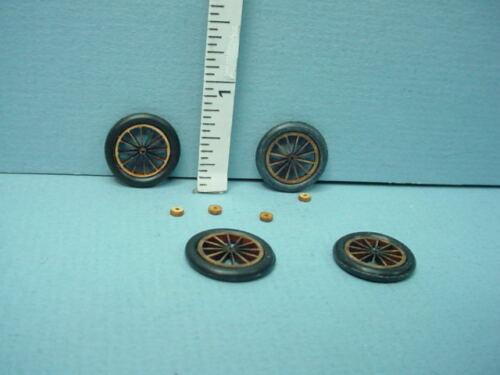 """5//8/""""diameter Laser Cut Miniature Wooden Wheels wi RubberTread /& spokes 4"""