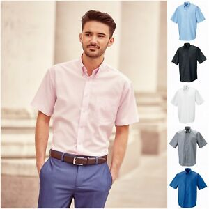 19d4479941 Mens Short Sleeve Oxford Shirt Business Work Smart Formal Casual ...