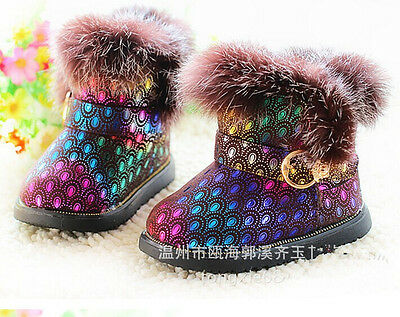 Autumn Winter Snow Boots Ankle Boots Warm cowhide peacock grain Girls Shoes X003