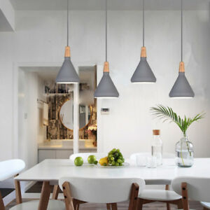 Details about Kitchen Pendant Light Grey Pendant Lighting Bar Wood Lamp  Modern Ceiling Lights