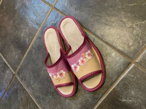 Ladies Slippers Indoor Outdoor Shoes for Women Purple Flowers Open Toes Slip Ons