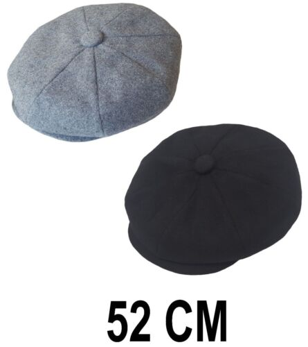 Boys Child Girls Eight Panel Flat Cap Wool Blend Herringbone Peaky Hat 52cm