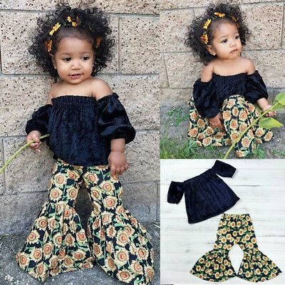 Toddler Kids Baby Girls Off Shoulder Floral Tops Flared Pants Loose Outfits Set