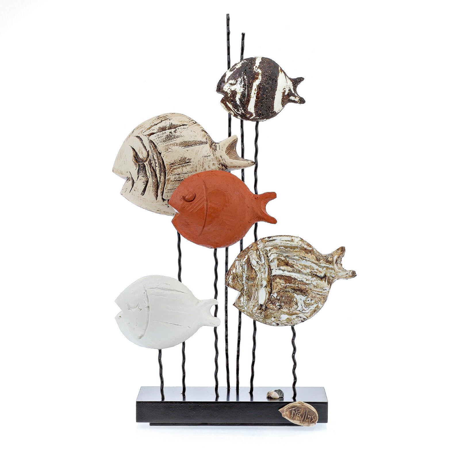 Figuras de peces tropicales-Hecho a Mano de Cerámica y Metal Decoración Grande, 15.5  (39 Cm)
