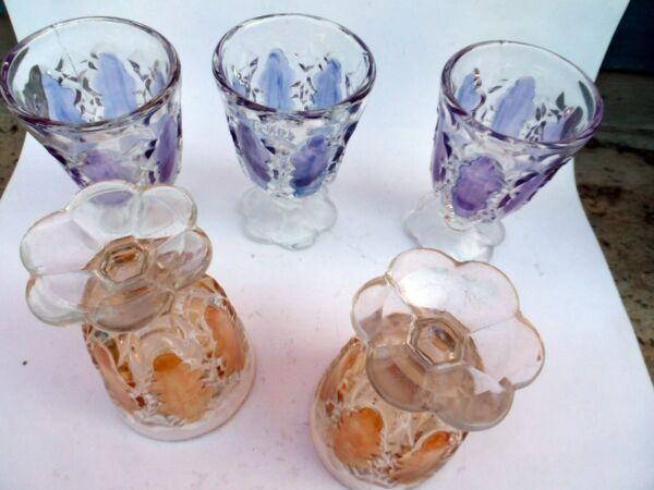 19786 5x Pressglas Becher Likör Klar Lasiert Pressed Liquor Glass Clear Paint