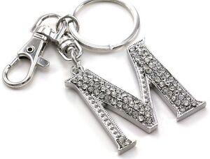 clear name alphabet initial letter m car keychain key ring wedding