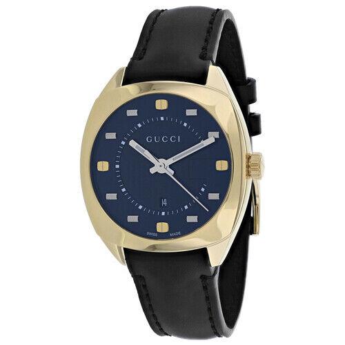 8d028225ce8 Gucci Women s 36mm Black Leather Band Steel Case Quartz Analog Watch ...