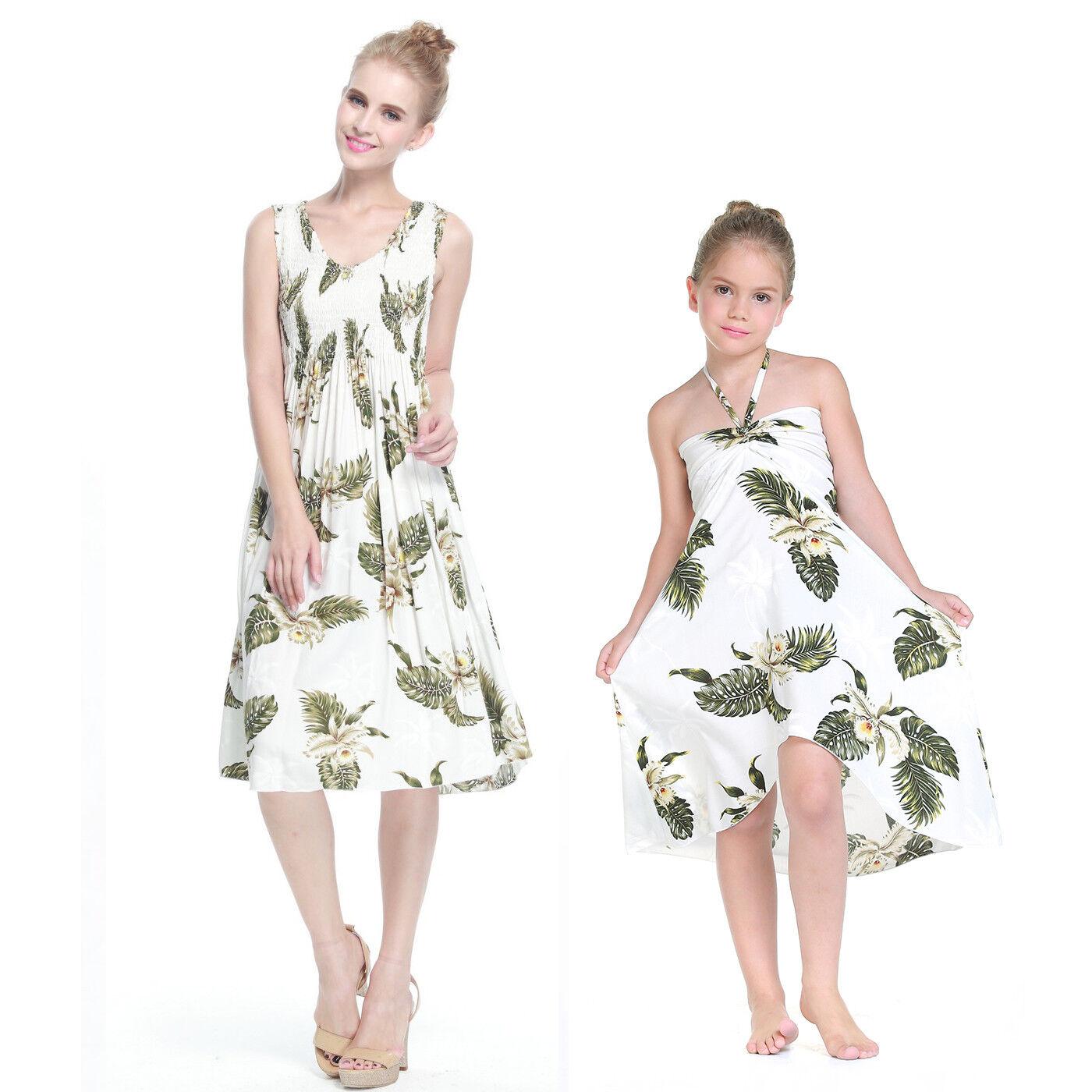 Mother and Daughter matching Hawaiian Dress Cruise Beach Short Palm Green WHite