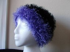Hand knitted fuzzy and soft  beanie/hat,  black with purple