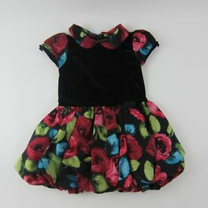 e4d3de975f The Children s Place Black Size 18 mo. Velour Floral Trim Pleated ...