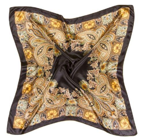 Big 90cm Vintage Elegant Ladies Silky Square Head Neck Scarf Various Styles
