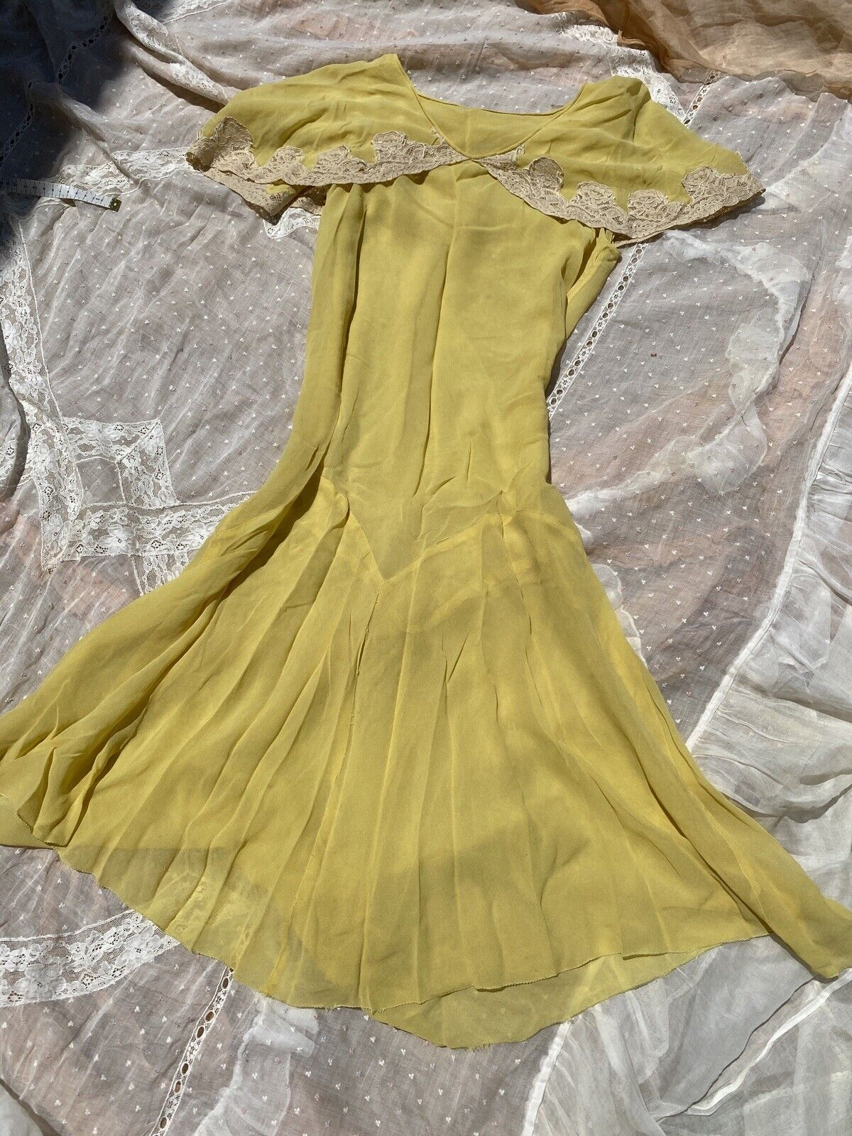 Antique 1920s 1930s Yellow Silk Chiffon Midi Dres… - image 2