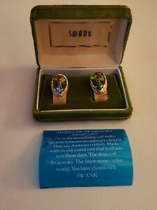 Swank Signed Watermelon Rhinestone Cuff Links Mid Century 50/'s 60/'s Suit Accessories Old Hollywood Glamour Jewelry For Men
