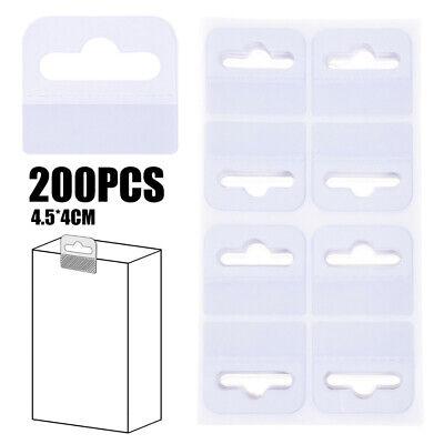 200pcs PVC Slot Hole Adhesive Hang Tabs Tags Hook For Store Retail Display USA