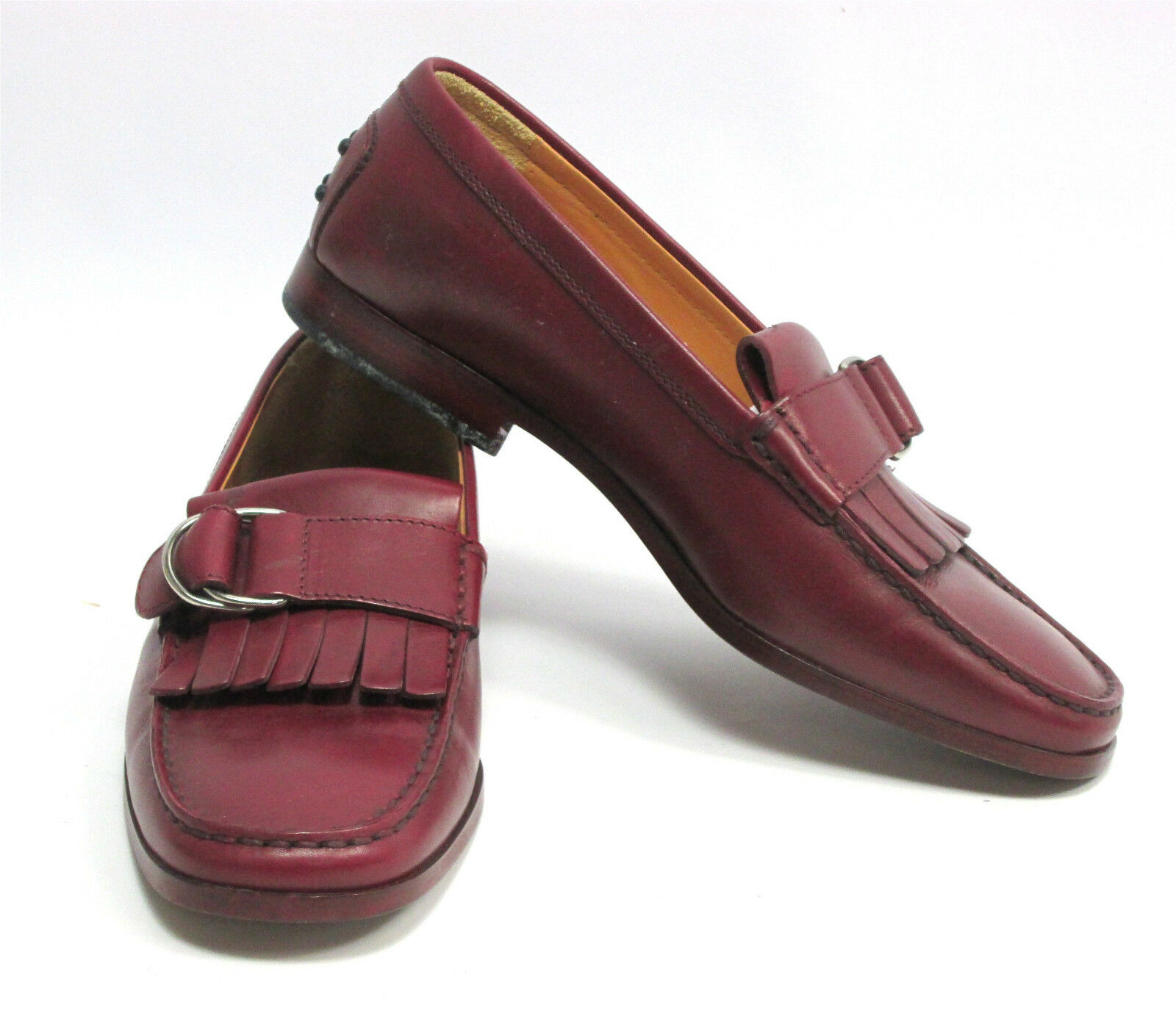 Tod's Damenschuhe ROT Maroon Fringe Loafers Schuhes Größe 7