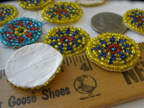 "Little seed beaded circles Flower motif Applique 1/"" 25mm costume headband tribal"