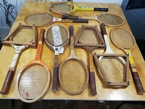 Lot Of 10 Vintage Wooden Tennis Rackets