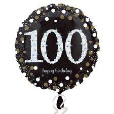 Black and Gold Celebration 100th Birthday Foil Helium Balloon
