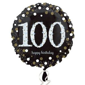 "100th HAPPY BIRTHDAY 18"" Round Black & Gold Foil Helium BALLOON Party 100"