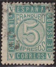 España 1867 Edifil 093 Sello º Cifras e Isabel II 5m Spain Stamps Timbre Espagne
