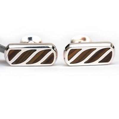 New DAVID YURMAN Men's Sterling Silver and Tiger Eye Graphic Cable Cufflinks NWT