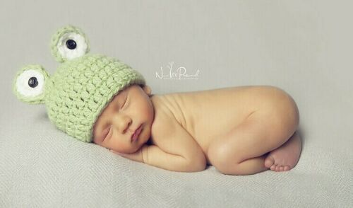 Hand Crochet Knitted Baby Hat Frog Chunky Photo Prop Boy Girl Unisex Newborn-6M