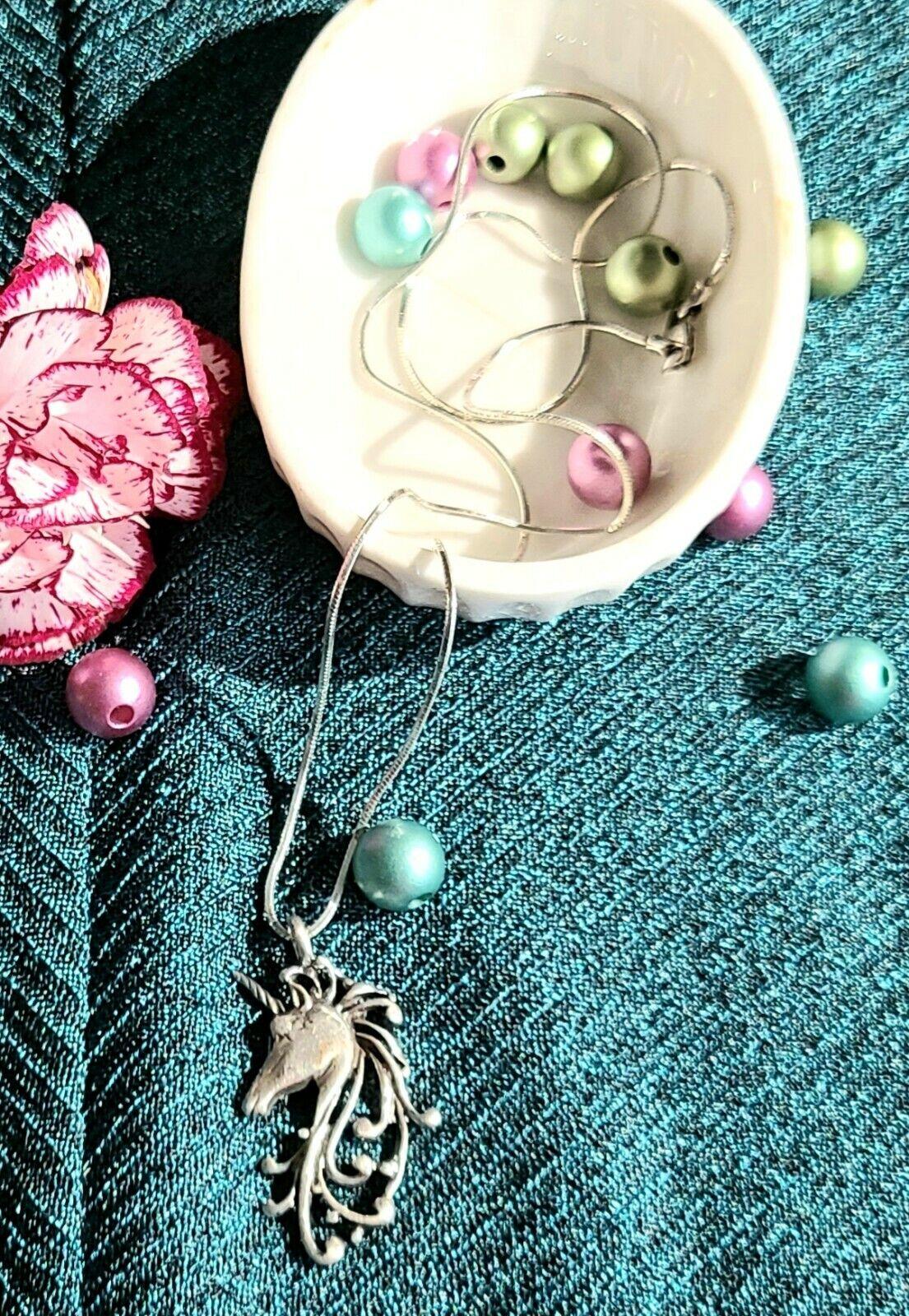 Vintage Sterling Silver Unicorn Pendant Necklace … - image 5