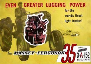 Massey Ferguson 35 Tracteur & 3-a-152 Moteur Diesel Publicité Poster (3 Pour 2 Offre)-afficher Le Titre D'origine E2pouhf2-07221538-351097781