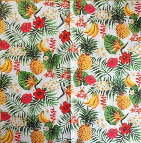 4 x Paper Napkins  Flowers Pineapple Bananas for Decoupage Crafting Table 1