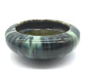 Antique-Arts-amp-Crafts-Pottery-Vase-Planter-Old-Thick-Blue-Green-Drip-Glaze