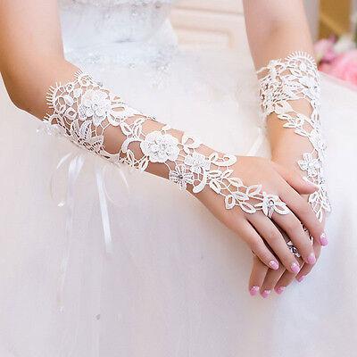 White Bridal Prom Sexy Lace Flower Rhinestones Fingerless Gloves Wedding Party