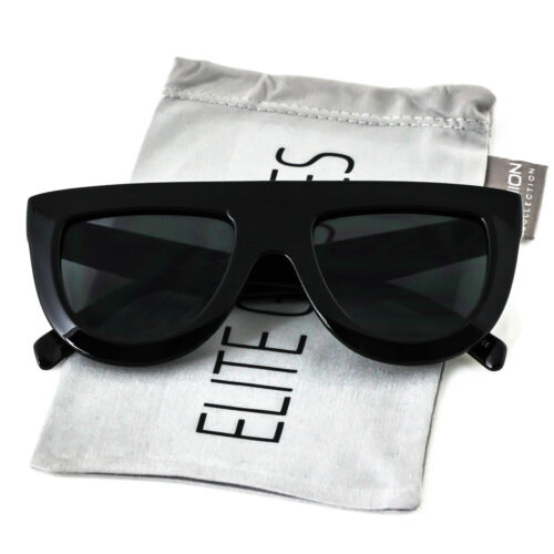 Flat Top Aviator Black Frame Oval Retro Mirror Lens Women Elite Sunglasses
