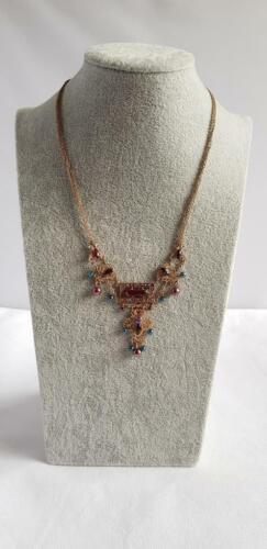 INDIAN STYLE NECKLACE Bright Gold Tone Pendant Multi-Colour Diamante 3 Designs