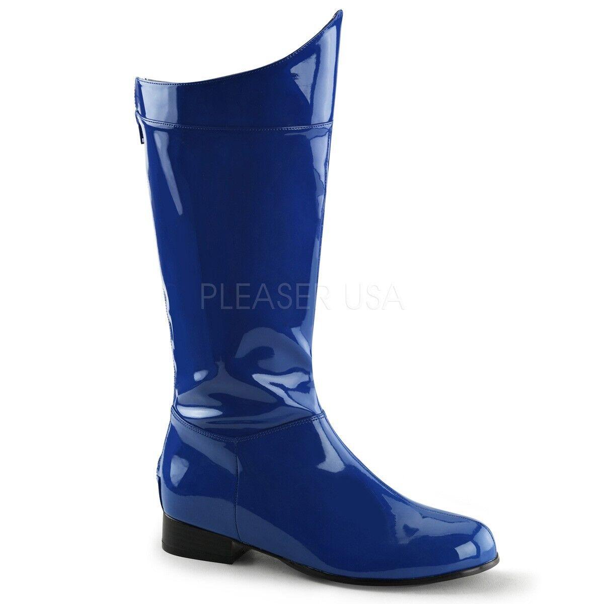 Funtasma 1  Heel Shiny bluee Super Hero Knee Boots Cosplay Halloween Mens 8-14