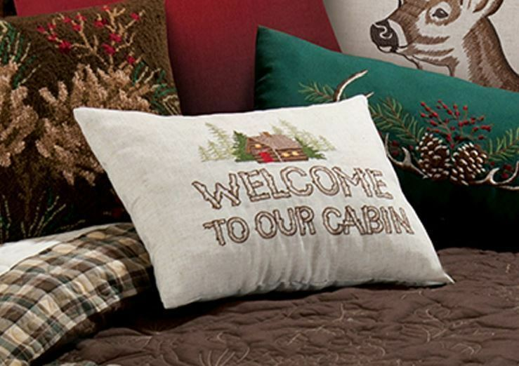 WELCOME TO OUR CABIN ACCENT PILLOW - LODGE SAYING WOODS TOSS THROW