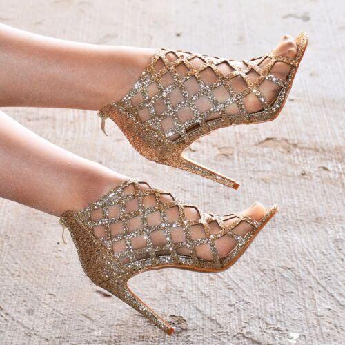 Femmes Paillettes Talon Haut Sandales Chaussures Brillant Gladiateur Lanière Métallique Taille