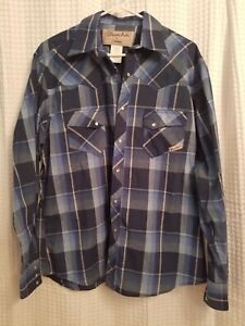 Wrangler-Western-Shirt-Pearl-Snap-Mens-Size-Large-Blue-Plaid-Long-Sleeve