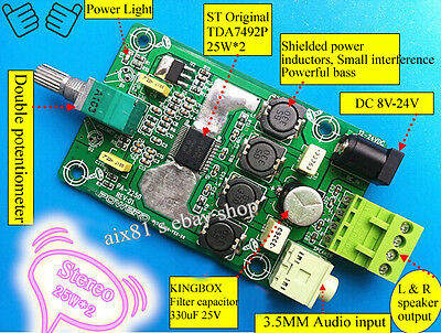 TDA7492P 25W+25W Digital Class D Amplifier Board  Power Audio Amplifier 8V-24V