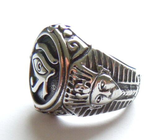 Egipto Faraón Rey Anillo Plata Acero Inoxidable 316L Antiguo Ojo De Horus Ra