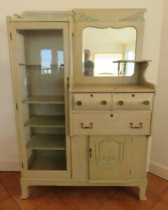 Image Is Loading Antique Oak Hutch Curio Cabinet In 034 Pickled