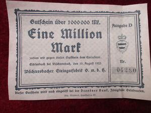 Wächtersbach RARITÄT : Gutschein über 1 Million Mark von 1923 - Hessen, Deutschland - Wächtersbach RARITÄT : Gutschein über 1 Million Mark von 1923 - Hessen, Deutschland